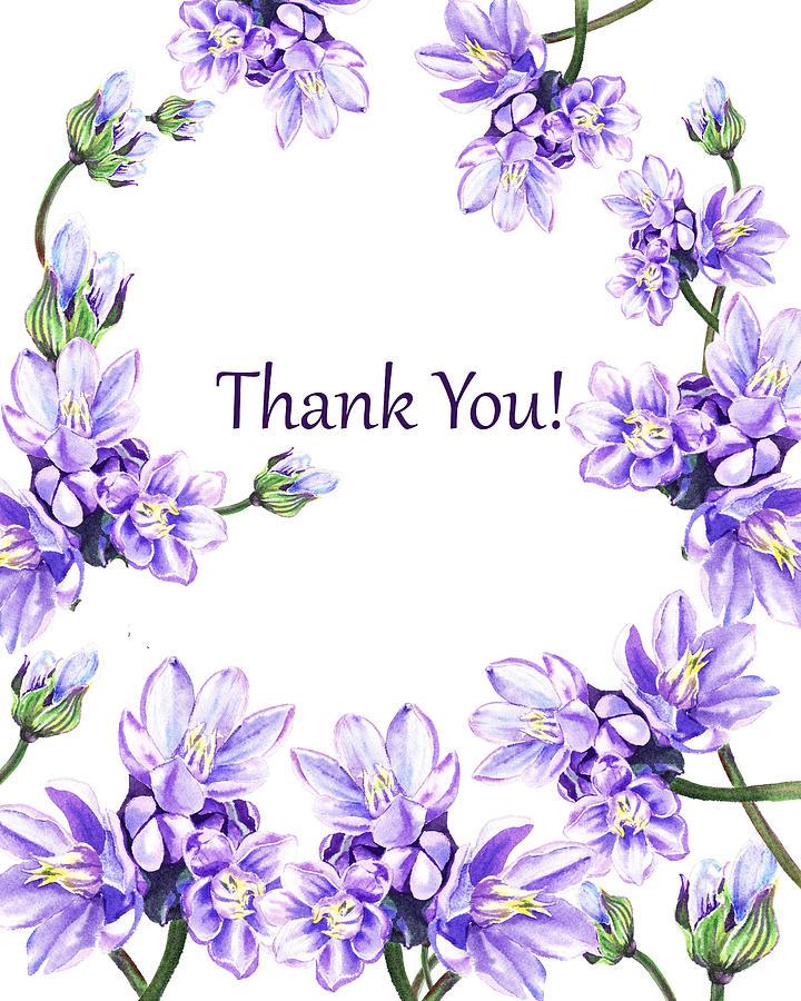 thank you purple flowers garden painting by irina sztukowski