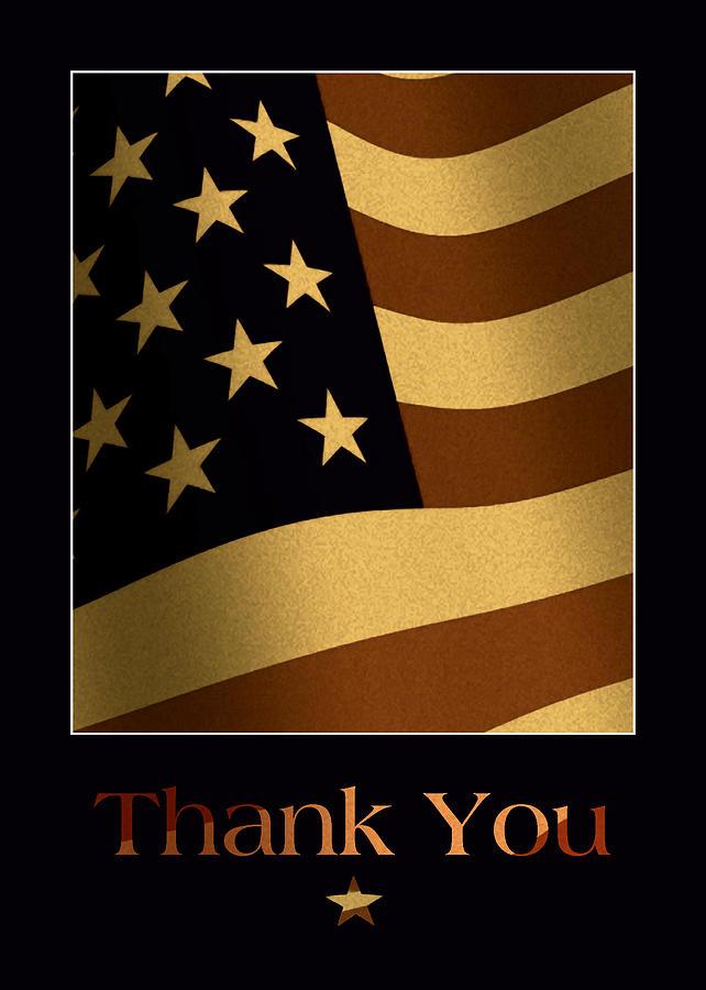 American Flag Mixed Media - Thank You U.S. Military Card by Kenneth Krolikowski