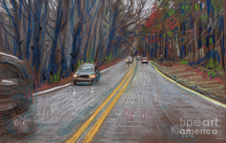 Driving Drawing - Thanksgiving Drive by Donald Maier