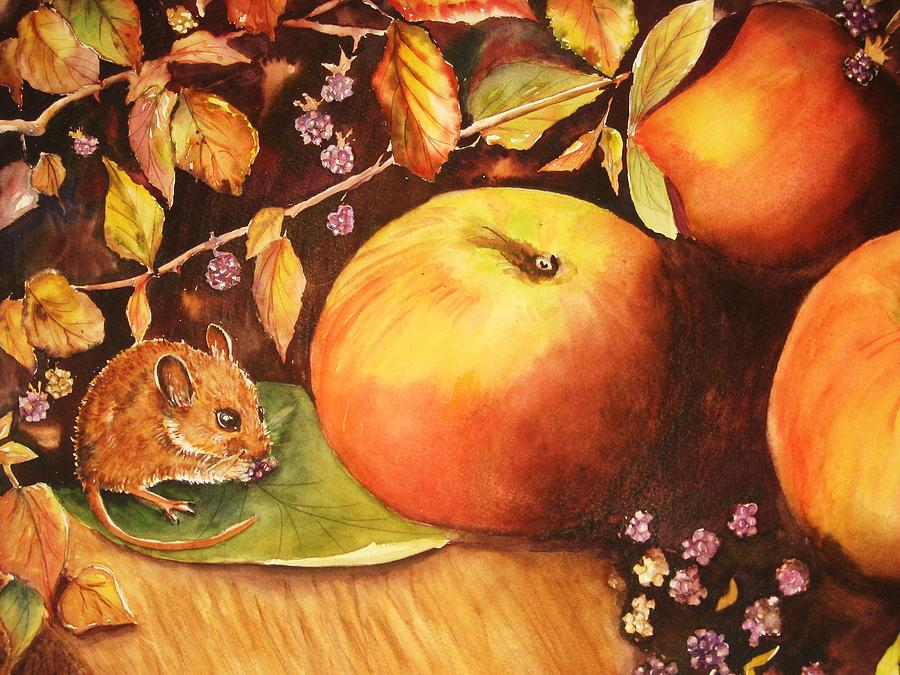 Mouse Painting - Thanksgiving Mouse Guest by Patricia Pushaw