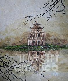 Thap Rua In Swort Lake  Painting by Le Dac Trung
