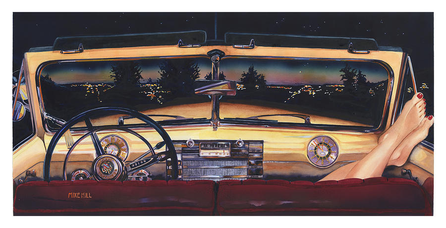 1948 Buick Roadmaster Convertable Car Automobile Feet Pedicure Night Skyline Parking Make Out Love  Painting - That Night On Walters Hill by Mike Hill