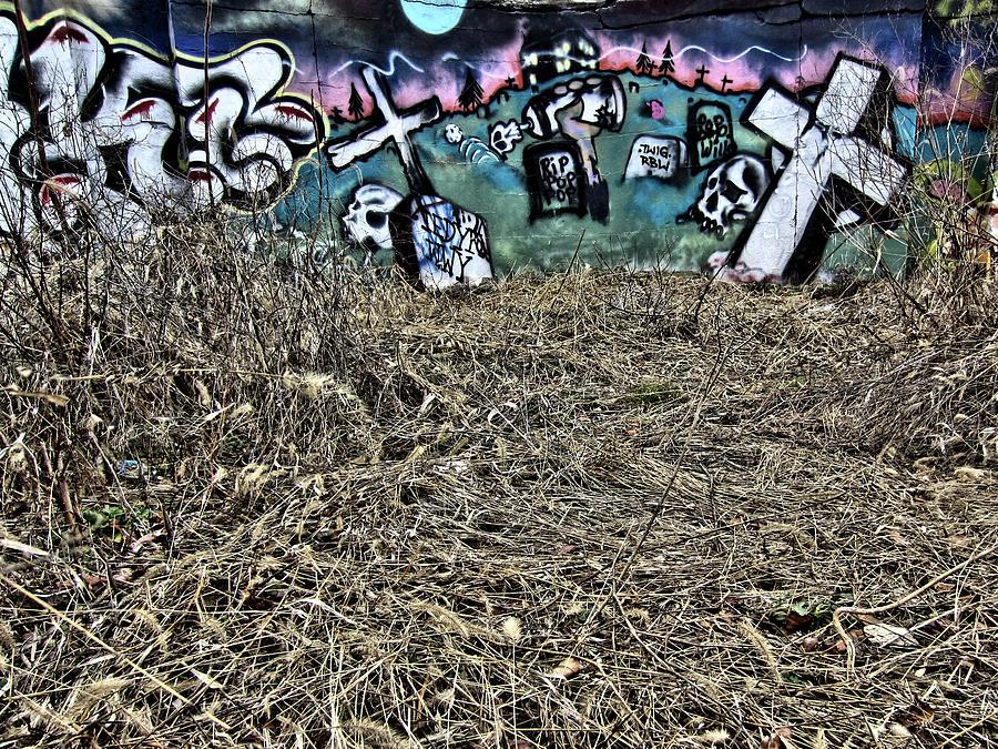 Graffiti Photograph -  That Old Rugged Cross, 2013 by Wayne Higgs