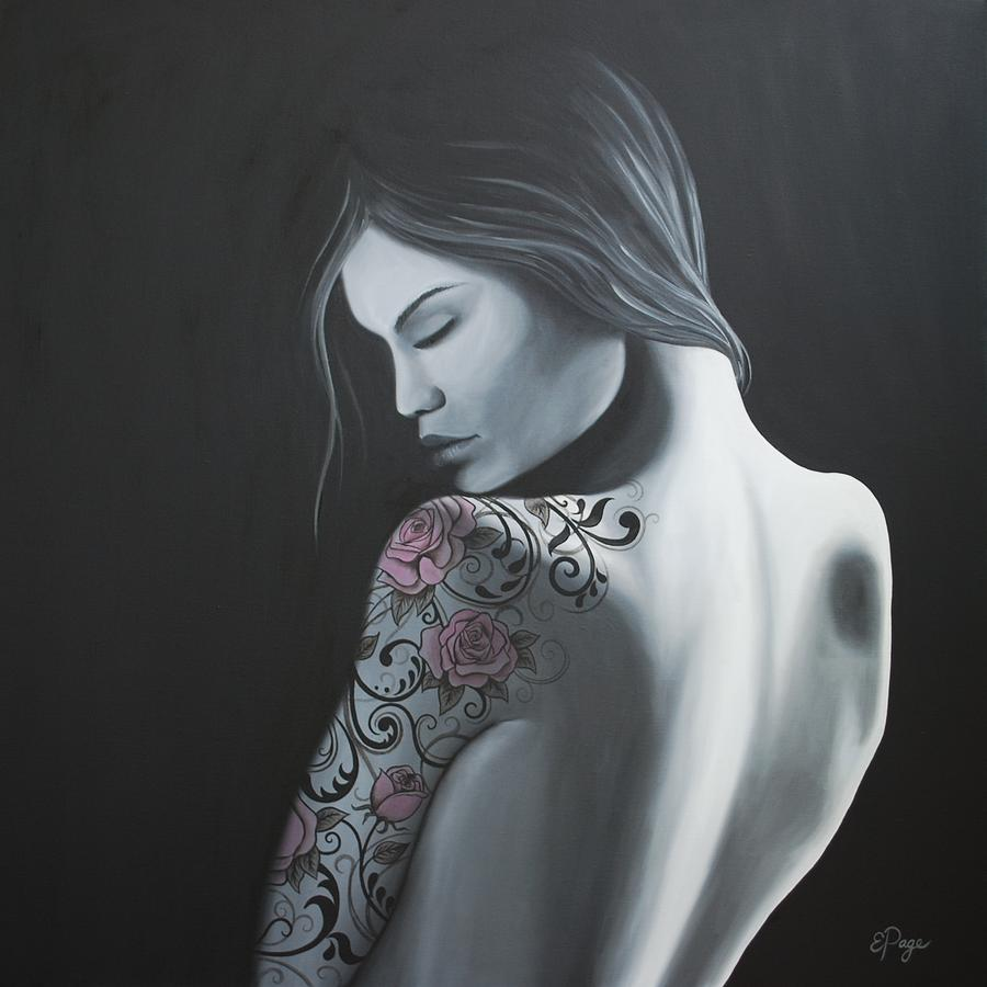 Figurative Painting - That Tattoo Girl by Emily Page