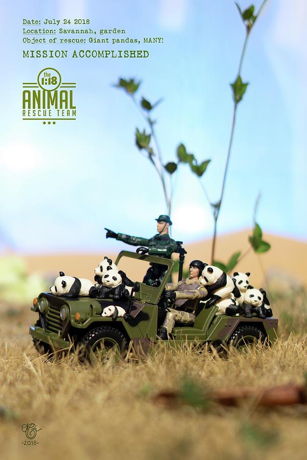 Miniature Photograph - The 1-18 Animal Rescue Team - Pandas On The Savannah by Martine Carlsen