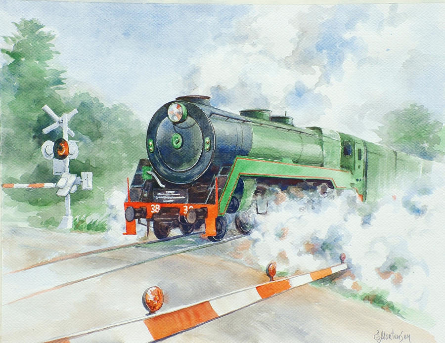 Watercolor Painting - The 3830 At Robertson by Ekaterina Mortensen