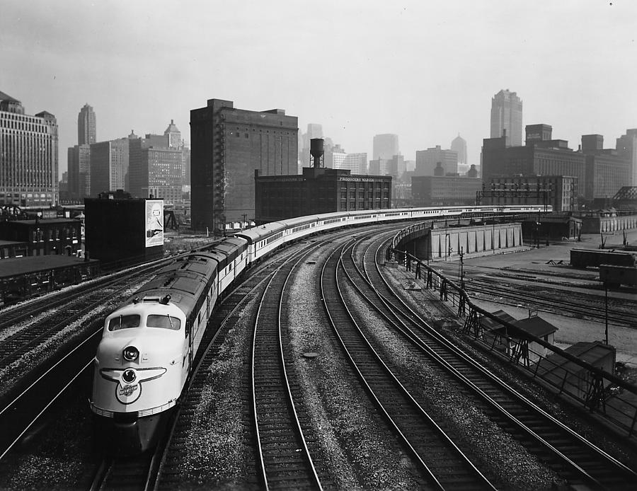 Chicago Photograph - 400 Passenger Train Leaves Chicago Terminal - 1963 by Chicago and North Western Historical Society