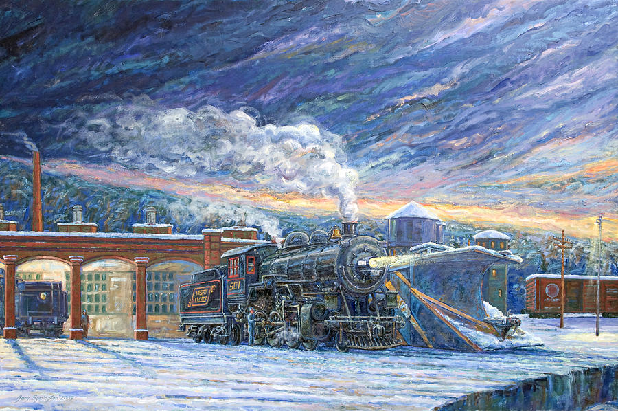 Locomotive Painting - The 501 In Winter by Gary Symington