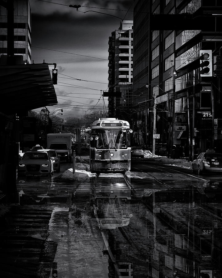 Toronto Photograph - The 512 St. Clair Streetcar Toronto Canada Reflection by Brian Carson