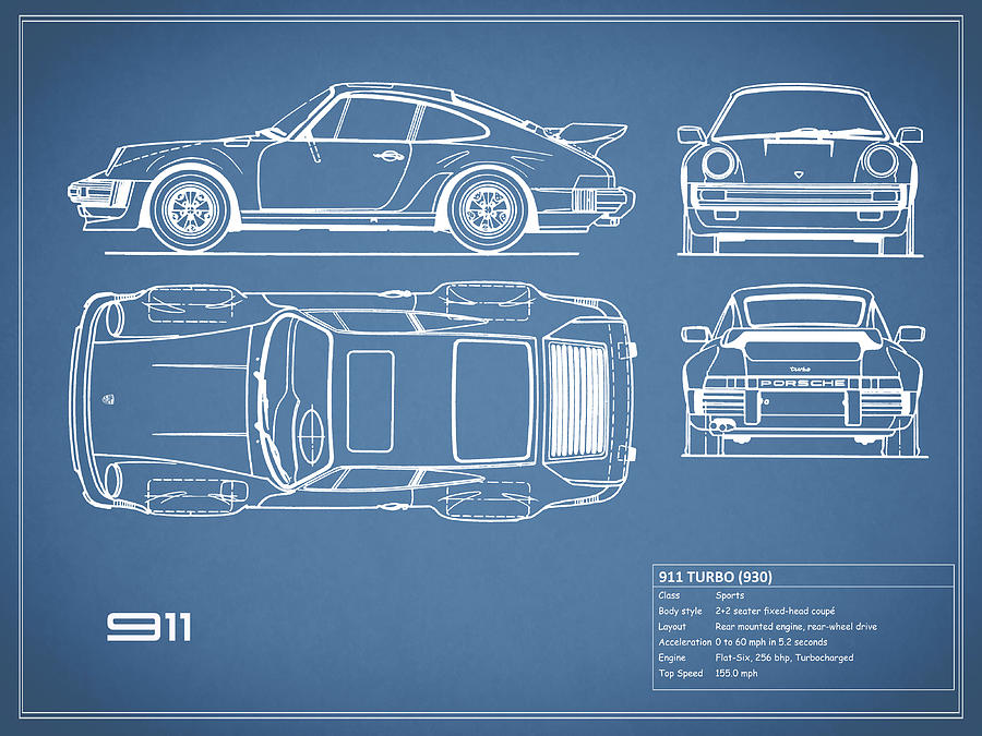 Porsche Photograph - The 911 Turbo Blueprint by Mark Rogan