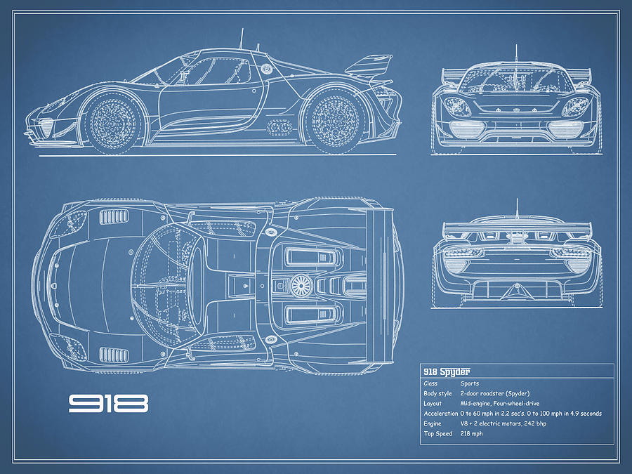 The 918 Spyder Blueprint Photograph by Mark Rogan