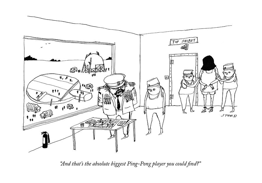 The Absolute Biggest Ping-pong Player Drawing by Edward Steed
