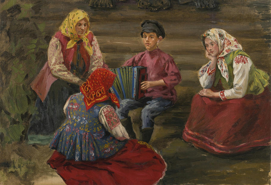 Music Painting - The Accordion Player by Celestial Images