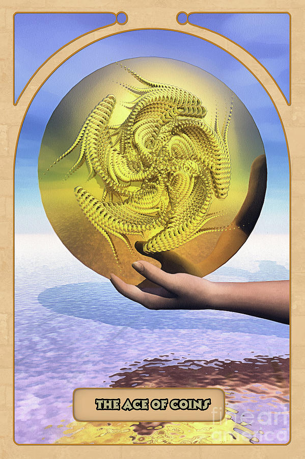 Magic Digital Art - The Ace Of Coins by John Edwards