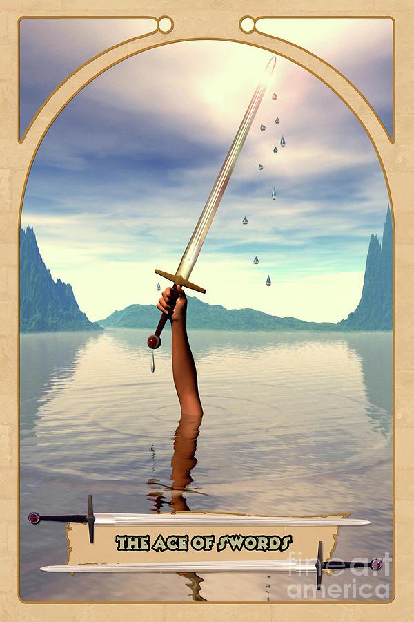 Magic Digital Art - The Ace Of Swords by John Edwards