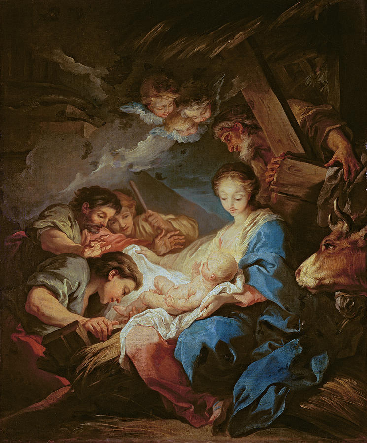 Light; Cherubs; Nativity Painting - The Adoration Of The Shepherds by Charle van Loo