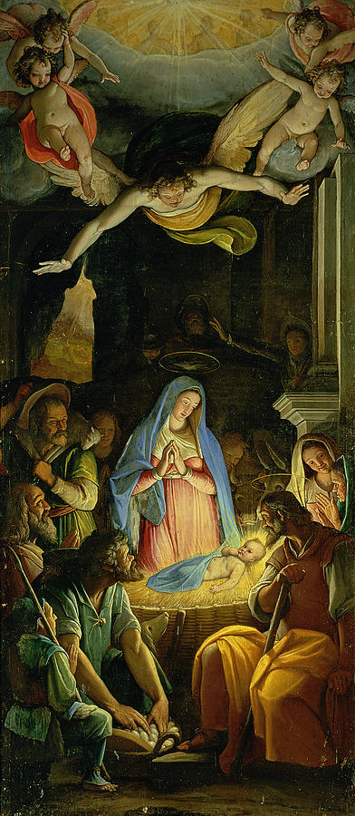 Christmas Painting - The Adoration Of The Shepherds by Federico Zuccaro