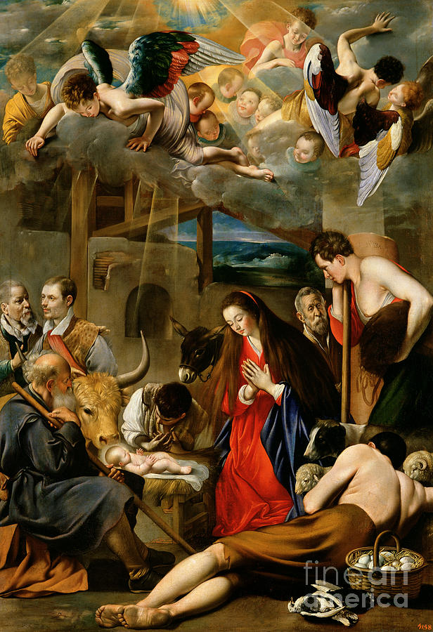 Shepherd Painting - The Adoration Of The Shepherds by Fray Juan Batista Maino or Mayno