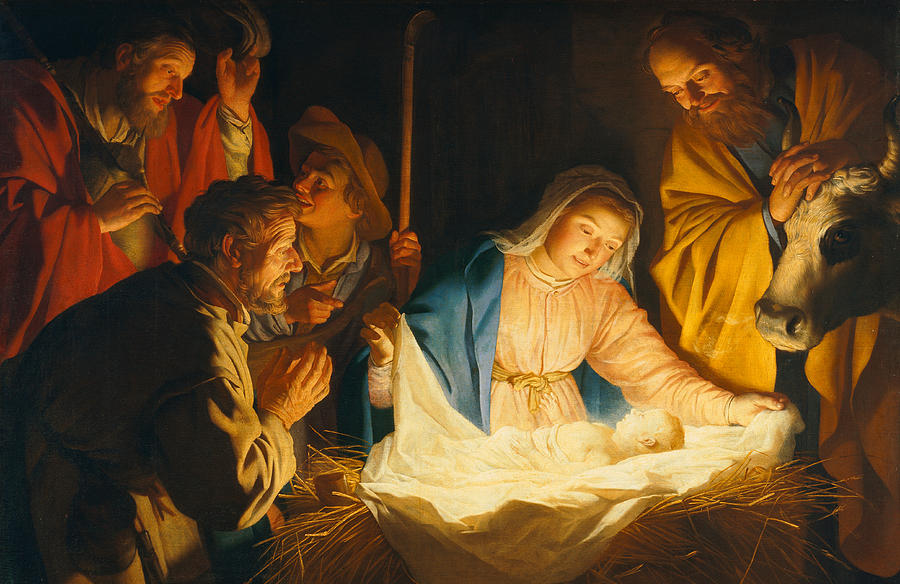 Nativity Painting - The Adoration Of The Shepherds by Gerrit van Honthorst