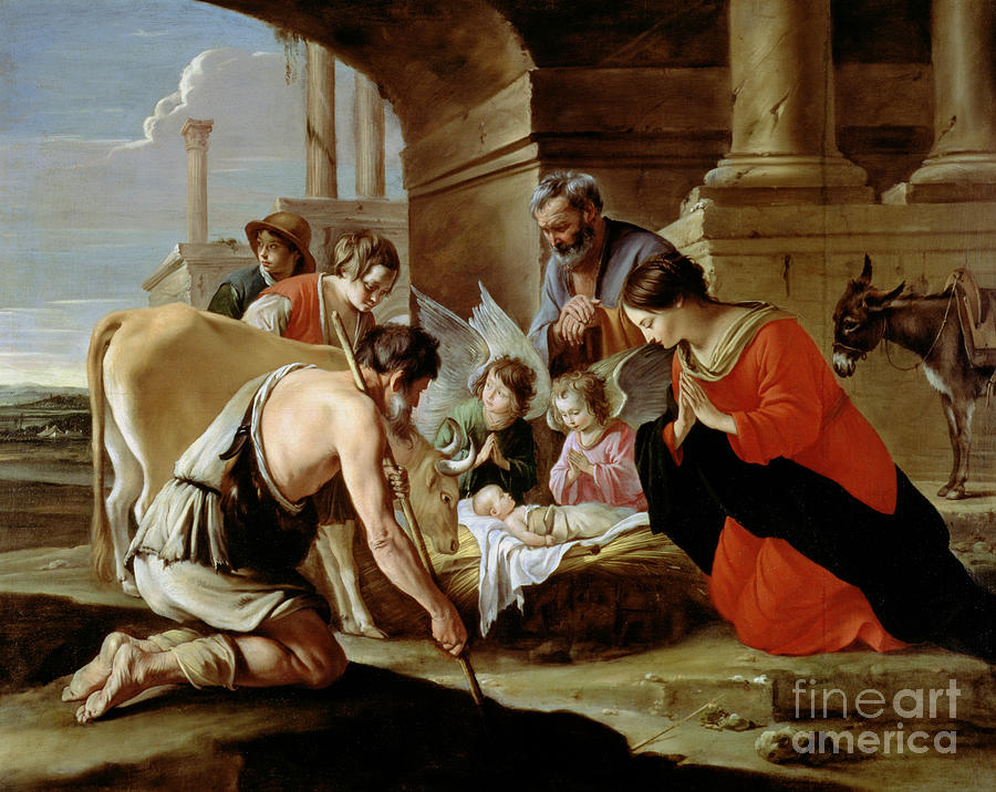 Shepherds Painting - The Adoration Of The Shepherds by Louis Le Nain
