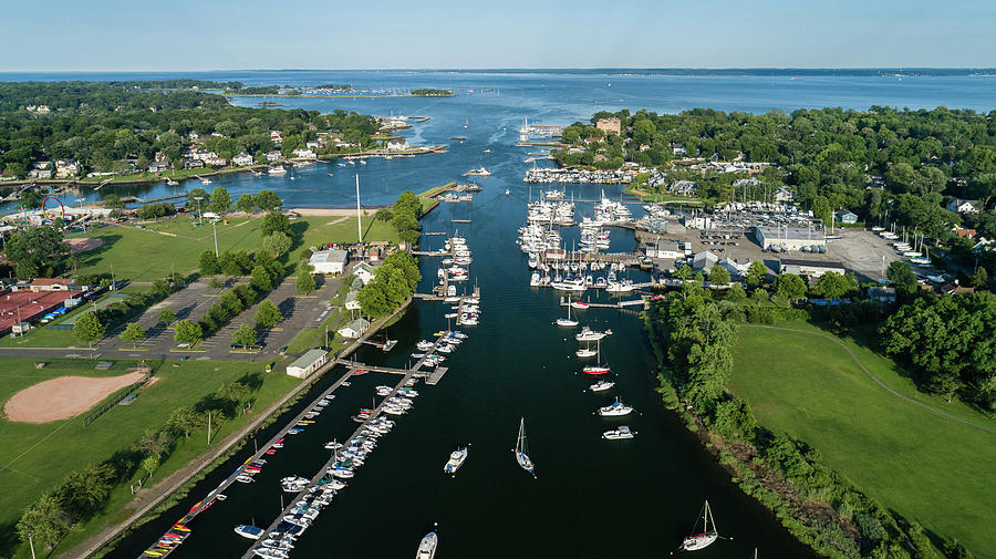 Aerial Photograph - The aerial view to the Mamaroneck marina, Westchester County by Alex Potemkin