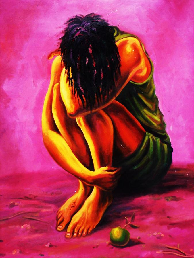 Female Painting - The Aftermath by Aderonke ADETUNJI