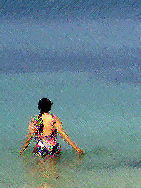 Woman Photograph - The Afternoon Swim by Padamvir Singh