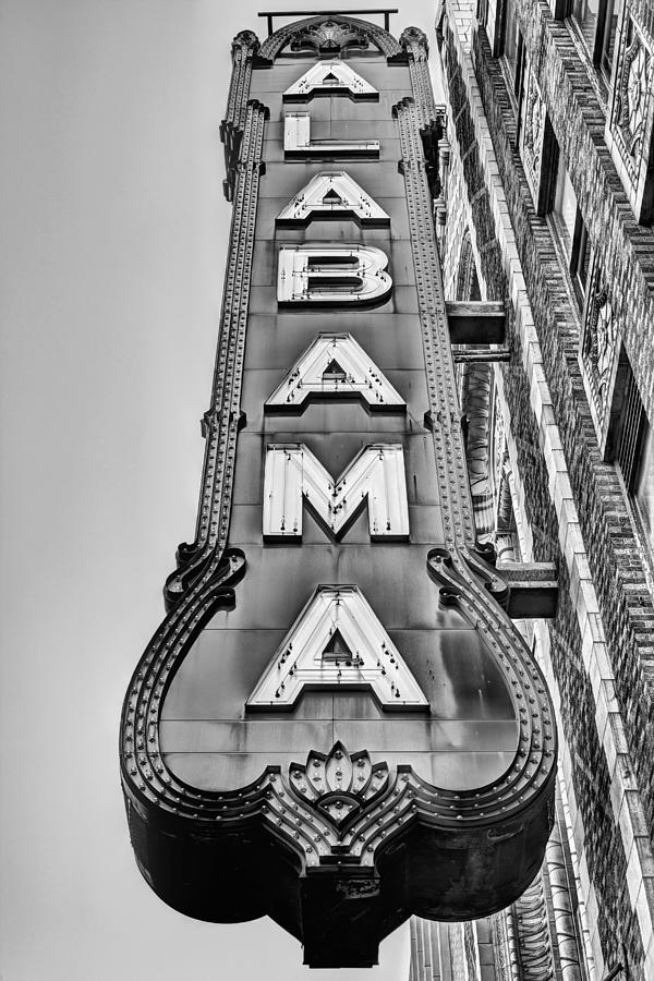 The Alabama Theater Photograph - The Alabama Theater in Black and White by JC Findley