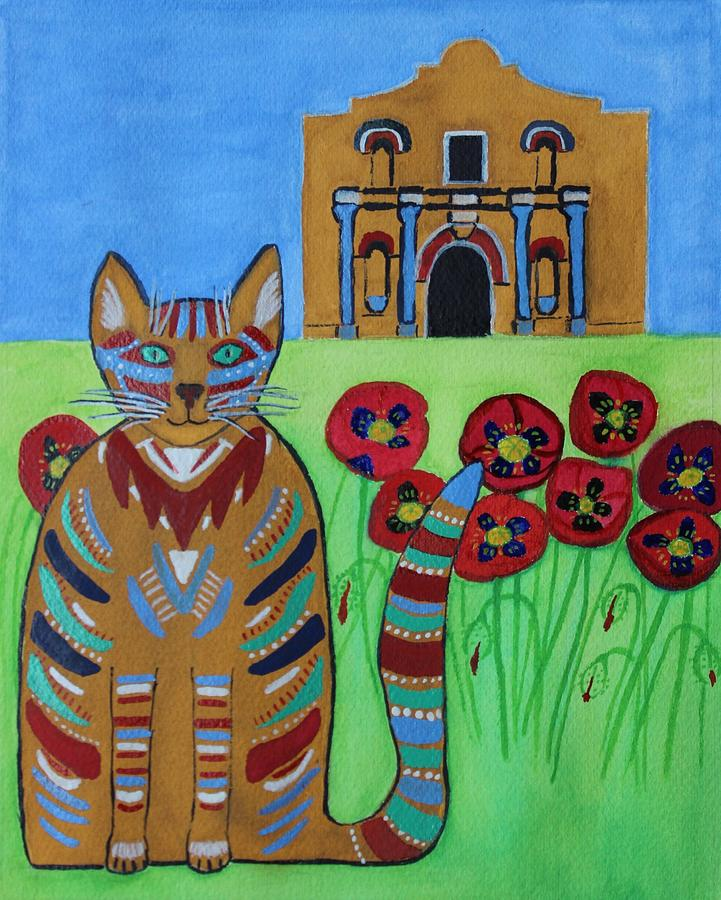 Cat Painting - the Alamo Cat by Vera  Smith