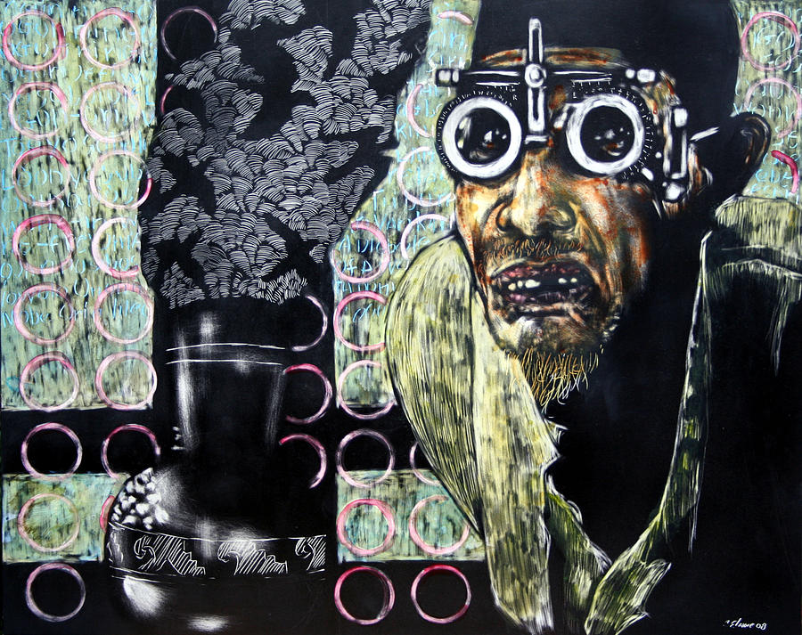Scratchboard Mixed Media - The Alchemist by Chester Elmore