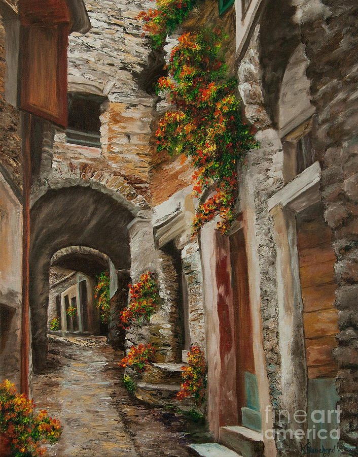Italy Street Painting Painting - The Alleyway by Charlotte Blanchard