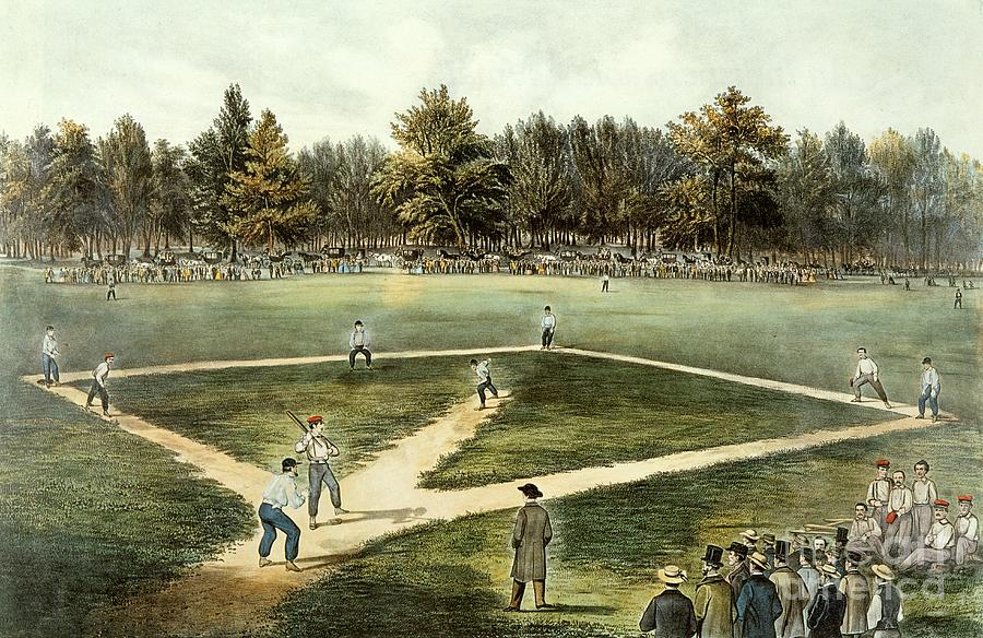 The Painting - The American National Game Of Baseball Grand Match At Elysian Fields by Currier and Ives