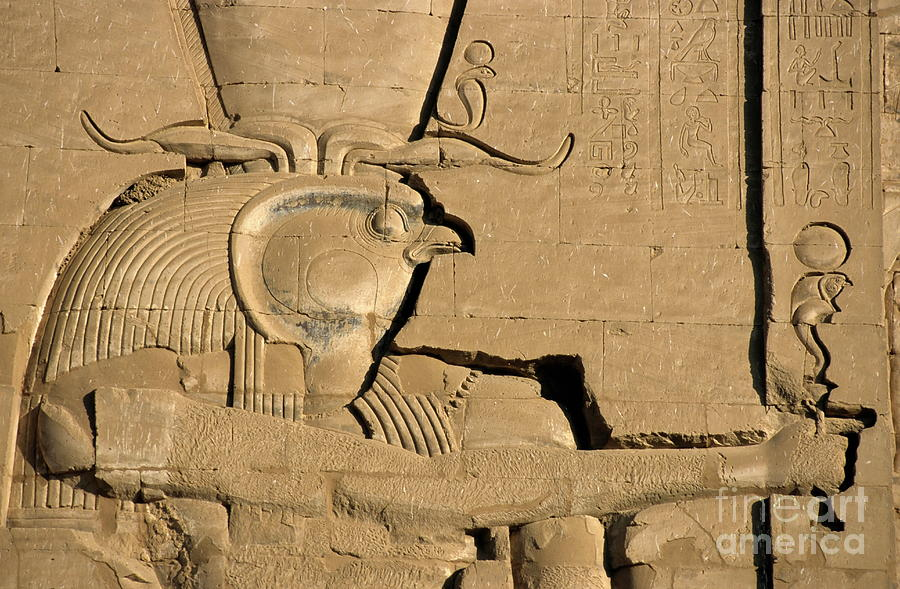 Africa Photograph - The Ancient Egyptian God Horus Sculpted On The Wall Of The First Pylon At The Temple Of Edfu by Sami Sarkis