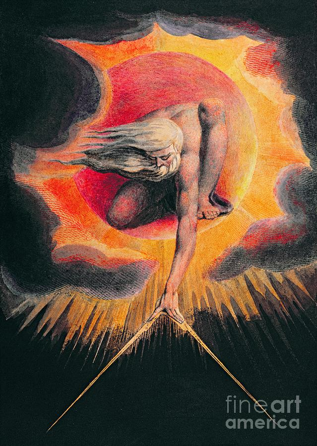 The Painting - The Ancient Of Days by William Blake
