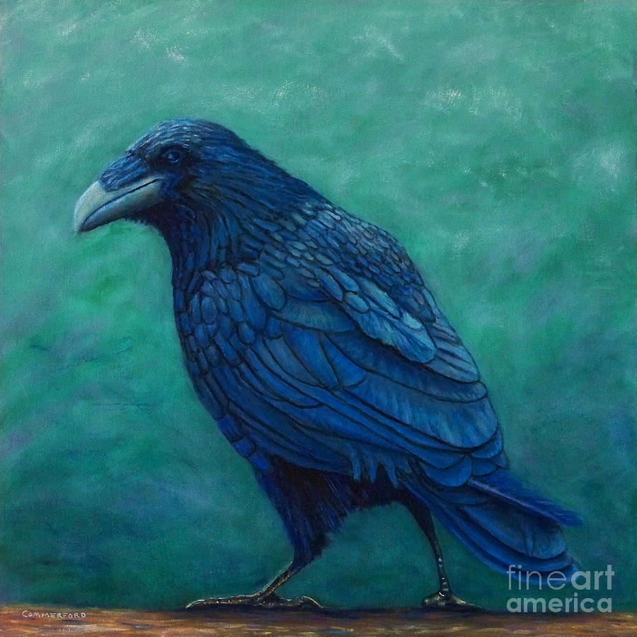 Raven Painting - The Ancient One by Brian  Commerford