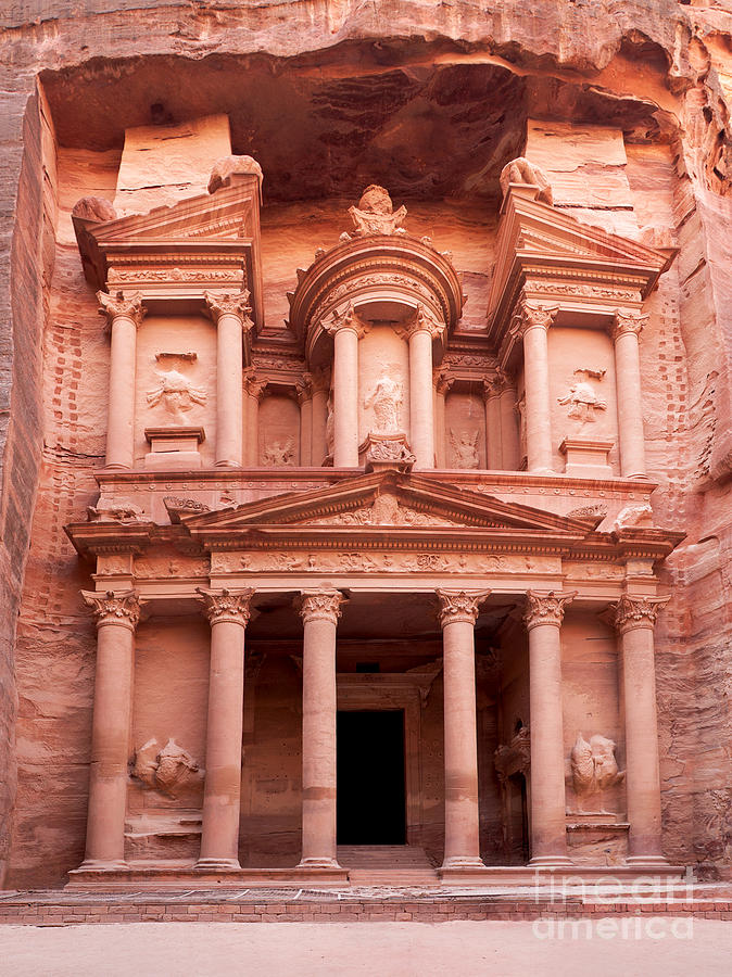 Red Photograph - The ancient Treasury Petra by Jane Rix