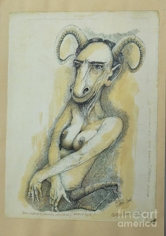 Androgyny Drawing - The Androgyny Goat by Alex Ivanov