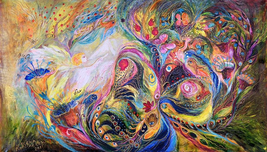 Original Painting - The Angel Of Flowers by Elena Kotliarker