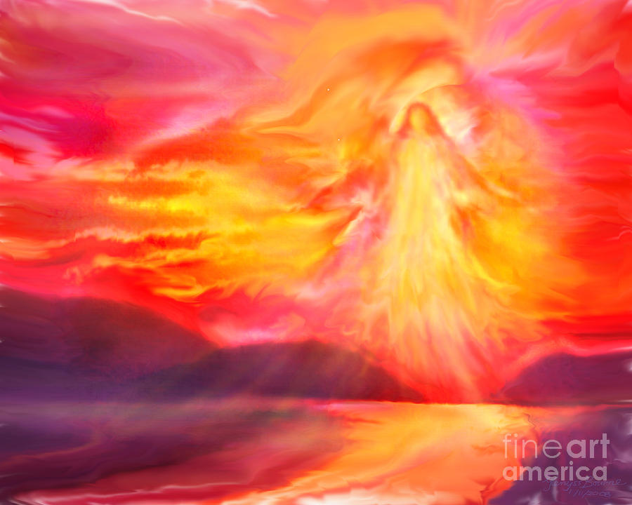 Angel Painting - The Angel of Protection by Glenyss Bourne