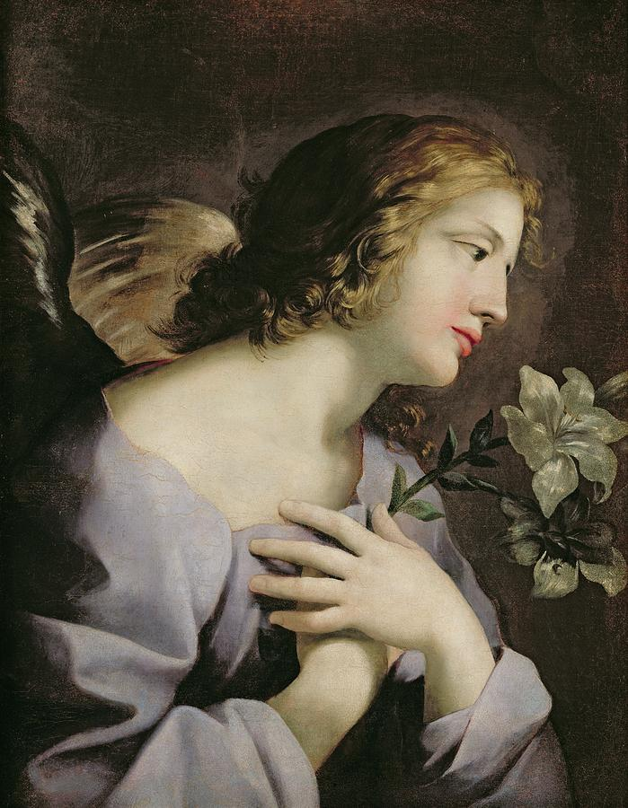 The Painting - The Angel Of The Annunciation by Giovanni Francesco Romanelli
