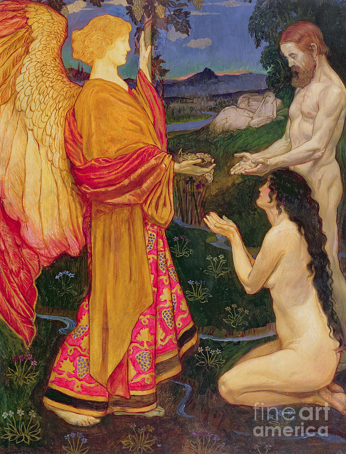 Eden Painting - The Angel Offering The Fruits Of The Garden Of Eden To Adam And Eve by JBL Shaw