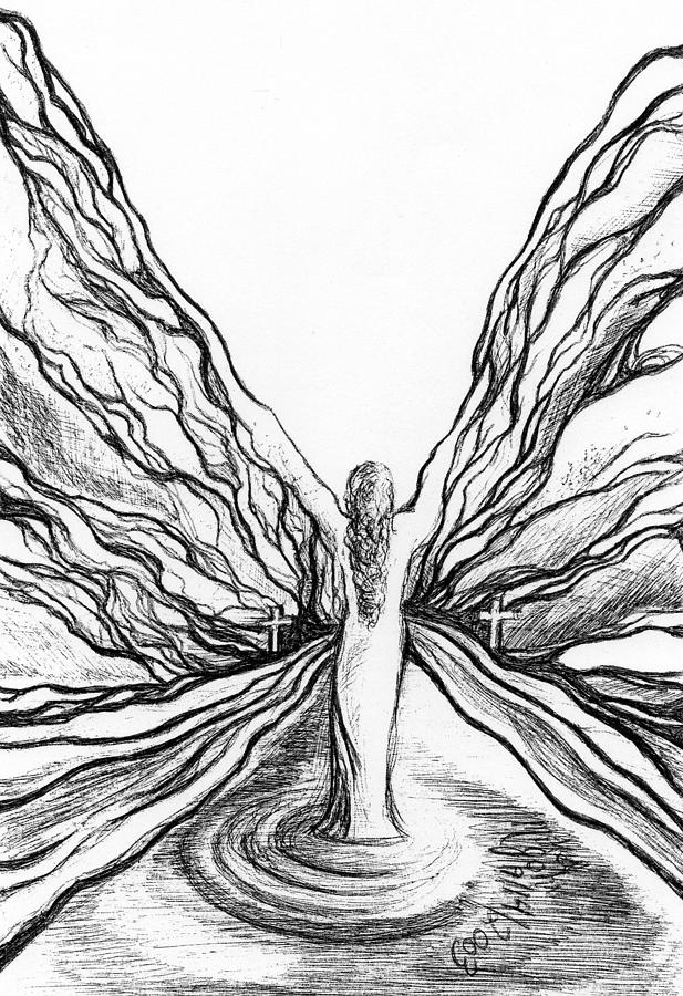 Doodle Drawing - The Angel Within  by Mikel Zuiderveen