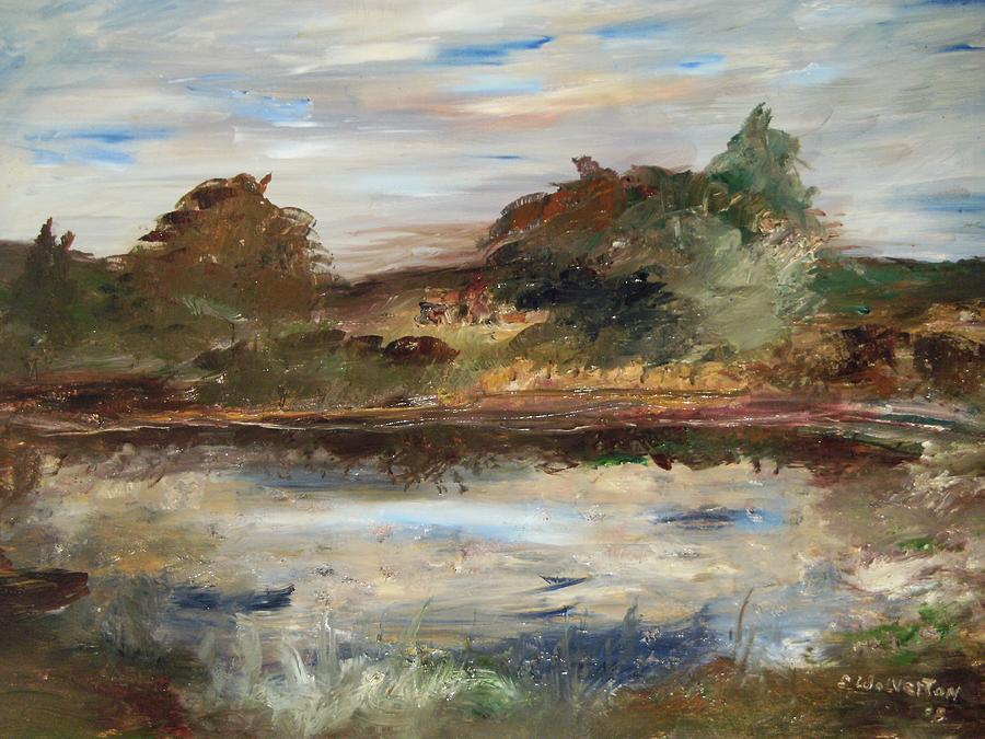 Landscape Painting - The Angels Camp Frog Pond by Edward Wolverton