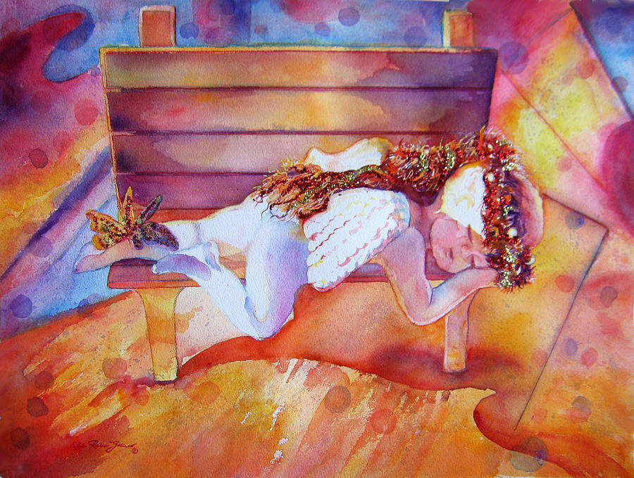 Watercolor Paintings Painting - The Angels Nap by Estela Robles