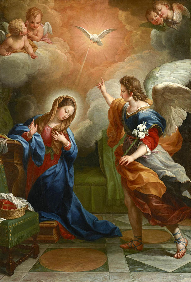The Annunciation Painting - The Annunciation  by Agostino Masucci