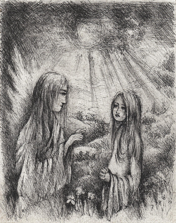 Annunciation Drawing - The Annunciation by William Russell Nowicki