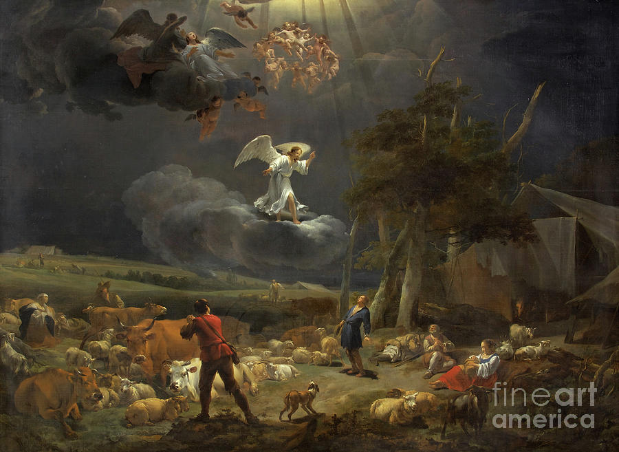Angle Painting - The Annunciation To The Shepherds by Nicolaes Pietersz Berchem