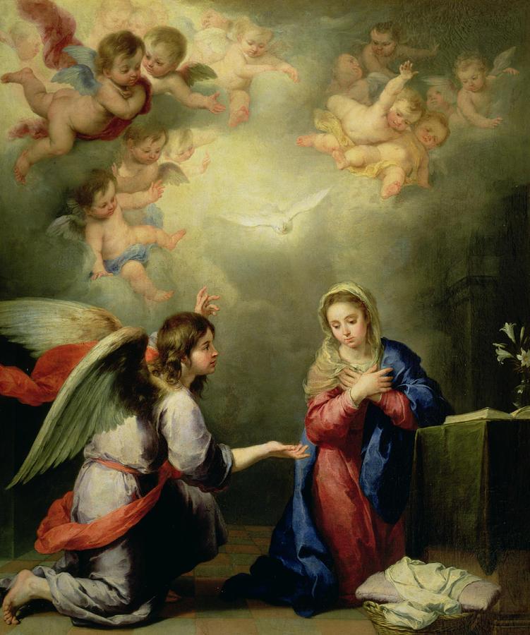 Virgin Photograph - The Annunciation by Bartolome Esteban Murillo