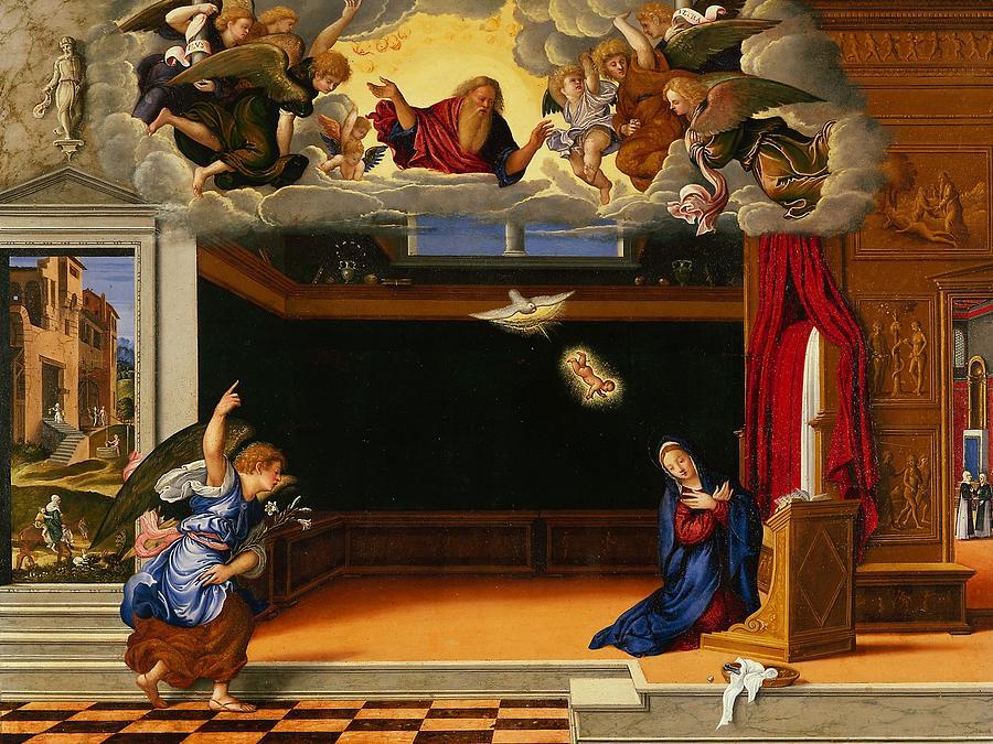Mary Painting - The Annunnciation by Girolamo da Santacroce