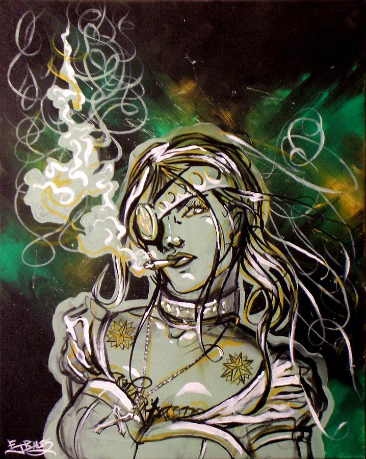 Smoke Painting - The Anti-heroine by Ericka Bales